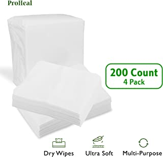 Disposable Dry Wipes, 200 Pack – Ultra Soft Non-Moistened Cleansing Cloths for Adults, Incontinence, Baby Care, Makeup Removal – 9.5
