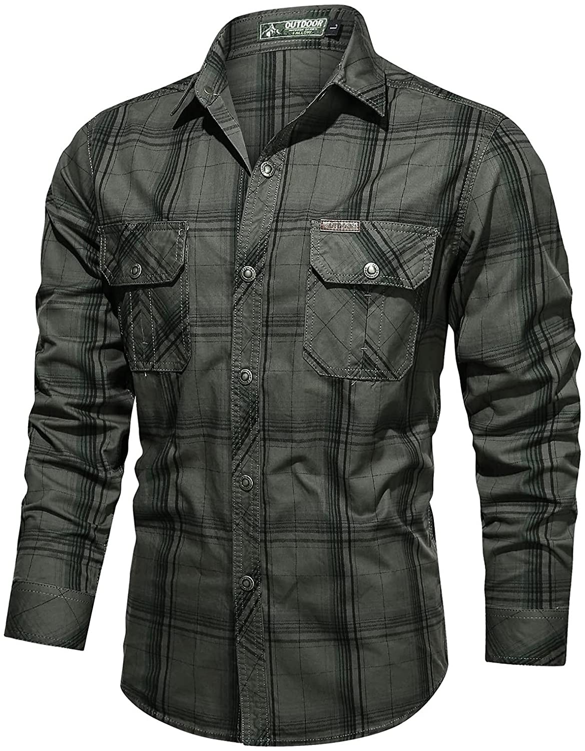 FUNEY Men's Tactical Cargo Work Shirt Casual Long Sleeve Button Down Hiking Shirts Military Slim Fit Outdoor Cotton Tops