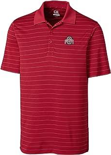 NCAA Ohio State Buckeyes Men's CB Dry Tec Franklin Stripe Polo,XX-Large,Cardinal Red