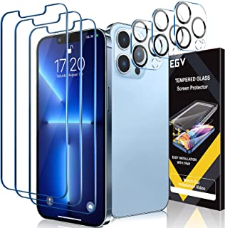 [3+3 Pack] EGV Compatible with iPhone 13 Pro 6.1-inch, Tempered Glass Screen Protector and Camera Lens Protector, Anti-Scr...