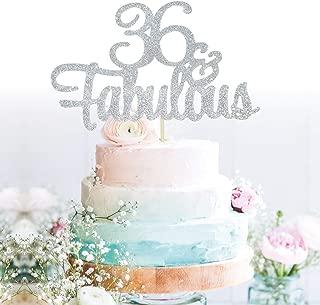 GrantParty Glitter Silver 36&Fabulous Anniversary Cake Topper We Still Do 36th Vow Renewal Wedding Anniversary Cake Topper(36 Silver)