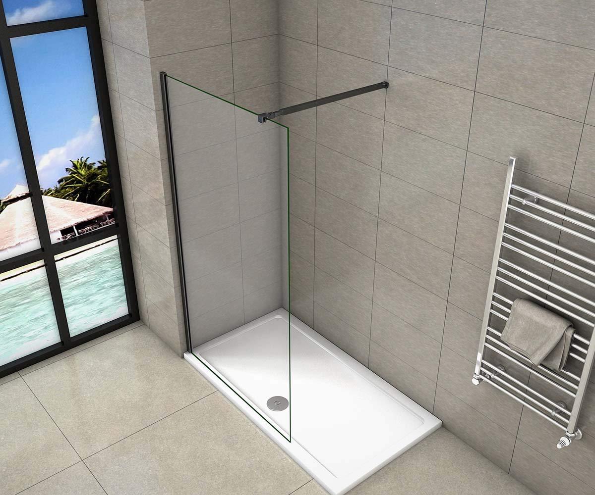 AICA - Mampara de ducha Walk-In con marco negro mate de cristal templado de 8 mm de fácil limpieza con barra estabilizadora negra mate ajustable 73-120 cm: Amazon.es: Bricolaje y herramientas