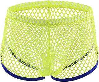 Greatfun Underwear Mens Elastic Underwear Men Mesh Boxer Briefs Cotton Shorts Bulge Pouch Ultra Soft Comfy Breathable Trunks Underwear Soft Stretch Briefs Black