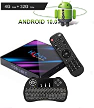 EstgoSZ Android 10.0 TV Box 4GB Ram 32GB ROM H96 Max Android TV Box RK3318 Support 2.4G 5G Dual WiFi 100M LAN USB3.0 BT4.0 3D H265 UHD 4K Smart Android Box with Backlit Keyboard