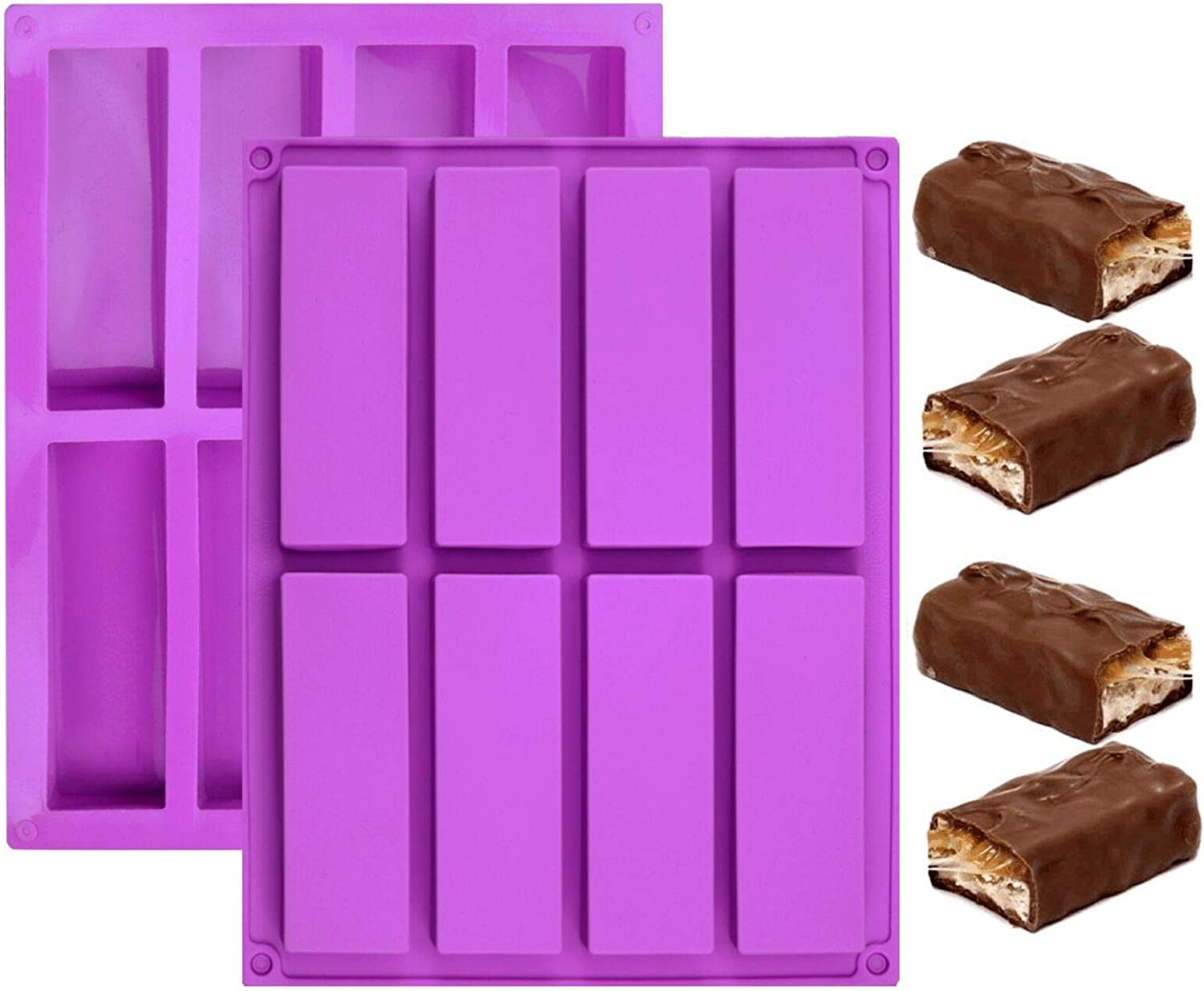 8 Cavity Rectangle Granola Bar Silicone Mold, 2 Pack Cereal Energy Bar Mold Butter Mold for Ganache, Chocolate Bar, Truffles, Cheesecake, Pudding