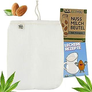 EcoYou® Nussmilchbeutel Bio waschbar aus Hanf Veganer Nussmilch Beutel inkl. leckeren..
