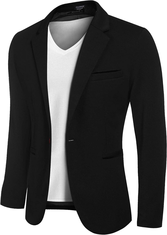 COOFANDY Men Casual Sport Coat Slim Fit Blazers One Button Business Suit Jackets