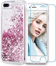 Maxdara Compatible iPhone 6 Plus 6s Plus 7 Plus 8 Plus Case Glitter Liquid Case with Screen Protector Bling Sparkle Girls Women Case for iPhone 6 Plus 6S Plus 7 Plus 8 Plus (Rosegold)