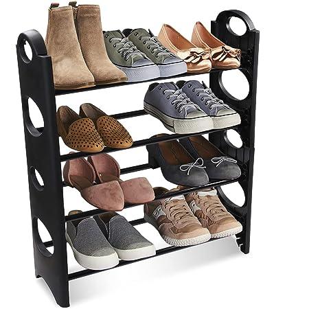TNT THE NEXT TREND Multipurpose Foldable Shoe Rack Cabinet Organiser 4 Shelves, Black (Iron and Plastic)