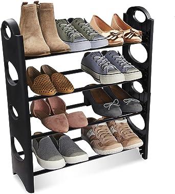 BigKart Multipurpose Foldable Shoe Rack Cabinet Organiser 4 Shelves, Black (Iron and Plastic)