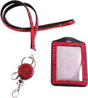 QIDUN Girl Badge Holder Rhinestone Lanyard Bling Crystal Necklace Badge Card Holder for Business Id/Key/Cell Phone (red)