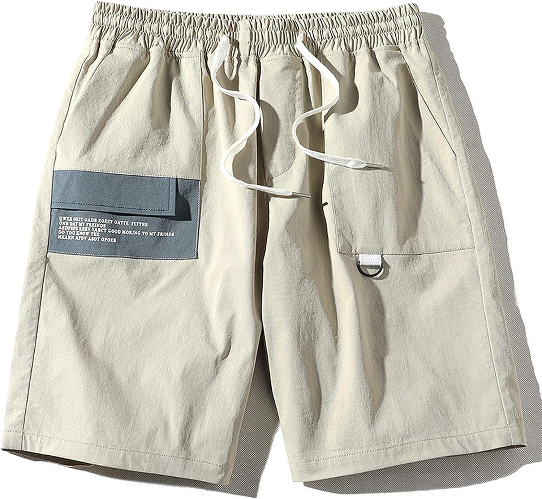 Men's Linen Shorts Cotton Polyester Fiber Casual Drawstring Summer Beach Cotton Cargo Long Inseam 3XL