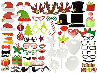 Paquete de 65 - Accesorios Festivos de Navidad para Photocall, Photo Booth Fotocall - Selección de Lentes, Sombreros, eslogans y Señales - Ideales para Fiestas de Navidad.