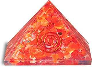 FASHIONZAADI Carnelian Crystal Orgone Pyramid for EMF Protection Pyramids Chakra Balancing Gemstone Energy Generator Cryst...