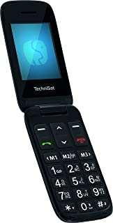 TechniSat TECHNIPHONE ISI 4   Klappbares Seniorenhandy ohne Vertrag (2.4 Zoll Display, Mini SIM, MicroSD Kartenslot, inklusive Ladestation, 900 mAh Akku) schwarz