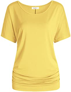 Women's Short Sleeves Dolman Top Scoop Neck Drape Shirt
