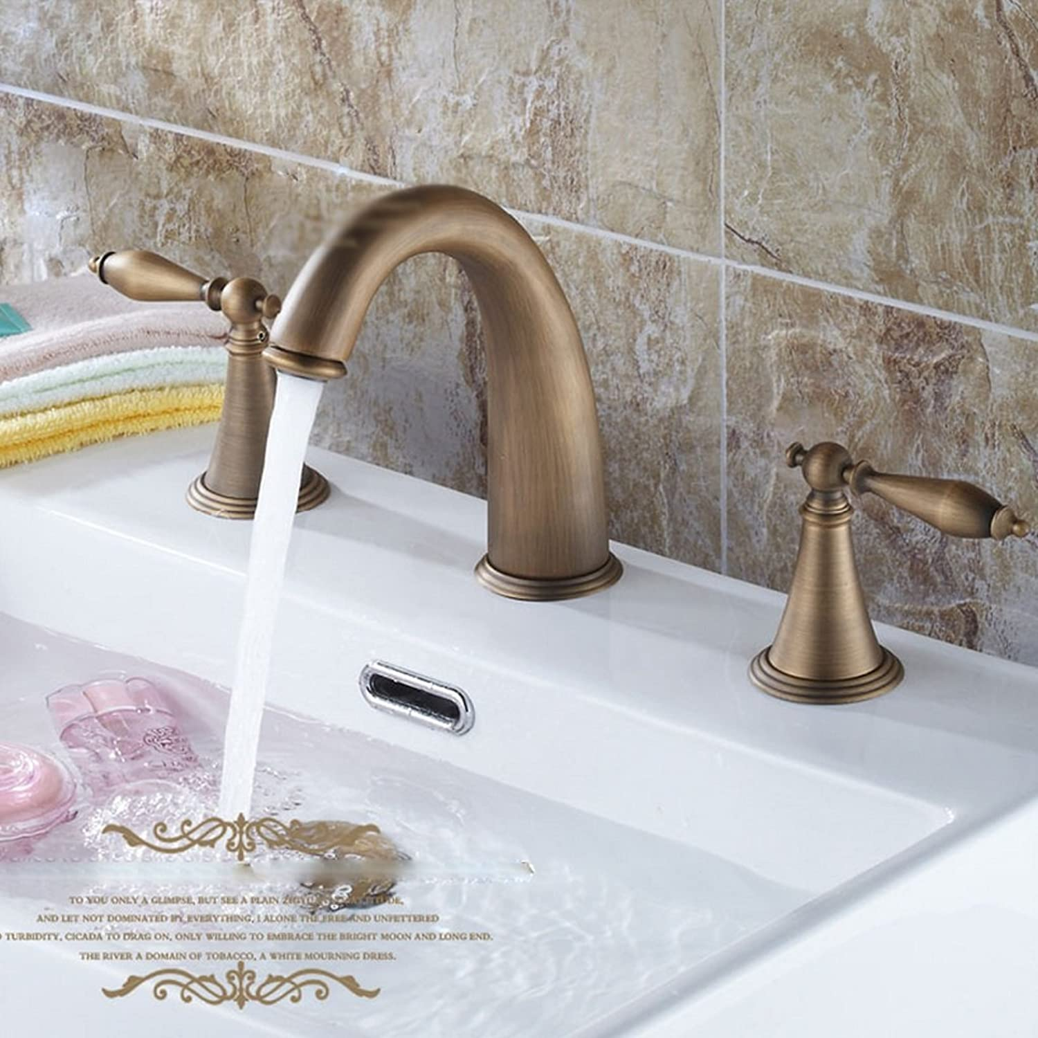 MEILING Full Copper Faucet Antique European Basin Faucet Double The Three Holes Leading Ceramic Basin Water Dragon