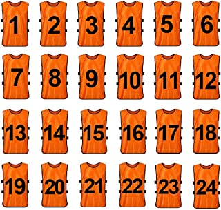 TOPTIE 1 to 24 Numbered Scrimmage Team Practice Vest, Training Bibs, Soccer Pinnies for Youth Adult