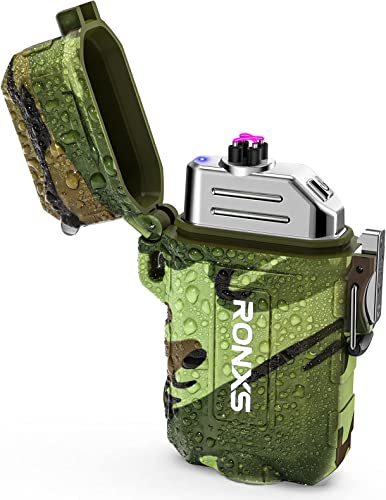 popular RONXS Lighter, outlet online sale Waterproof Electric Lighter with Flashlight, Windproof Dual Arc for Camping Outdoor Emergency USB Rechargeable outlet online sale Plasma Men Gadgets(Camouflage) outlet sale