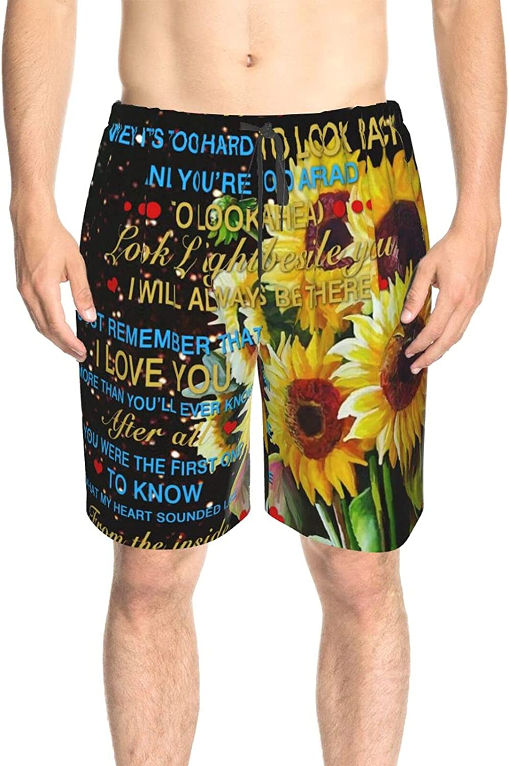 JINJUELS Mens Swim Trunks to My Daughter Sunflower Bathing Suit Boardshorts Quick Dry Cool Swimwear Beach Shorts with Lining