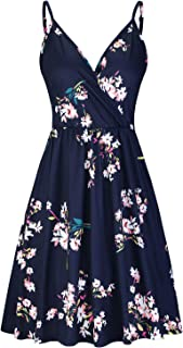 Women's V Neck Floral Spaghetti Strap Summer Casual Swing...