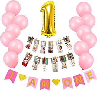 Baby Girl First Woodland Birthday Decorations Set-Pink Banner Sign,Owl Photo Banner,Balloons,Party Supplies and Favors for Toddler Cowgirl Puppy Dog Butterfly Ladybug Deer Themed Decor