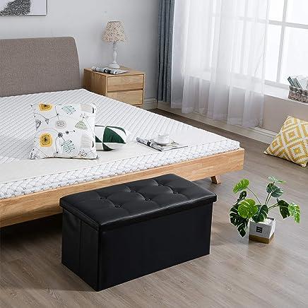 "featured product Samincom 30""L x 15""W x 14.17""H Classics Foldable Tufted Storage Bench Ottoman Black"
