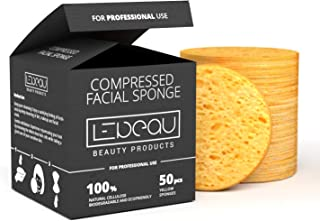 LeBeau Compressed Facial Sponges, Face Sponges for Cleansing, 100% Natural Cellulose Facial Sponge, Professional Spa Quality Face Sponge (50 counts, Yellow)