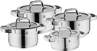 WMF Compact Cuisine - Batería de cocina de inducción (4 piezas, acero inoxidable Cromargan pulido, ollas con tapa de cristal, ollas de inducción, escala interior, apilable)