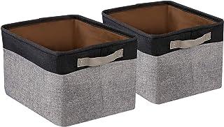 BrilliantJo 2 Pcs Grand Boîte de Rangement en Toile Lavable Pliable avec poignées, Tissu Cube 40 x 30 x 25 cm, Noir+Gris