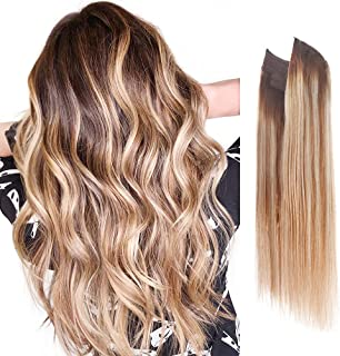 Premium Remy Human Hair Halo Hair Extensions Honey Blonde with Platinum Blonde Highlights with Walnut Brown Root, 16 Inch....