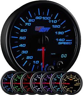 "GlowShift Black 7 Color 140 MPH Speedometer Gauge - Mounts in Custom Dashboard - Resettable Trip Meter - Black Dial - Clear Lens - 3-3/4"" 95mm"