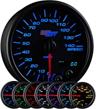 GlowShift Black 7 Color 140 MPH Speedometer Gauge - Mounts in Custom Dashboard - Resettable Trip Meter - Black Dial - Clear Lens - 3-3/4
