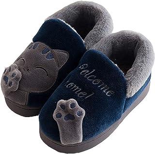 KVbabby Chat Doux Hiver Peluche Pantoufles en Coton Chaussons Fille Garcon Slip sur Intérieure Maison Chaussure Accueil Sl...