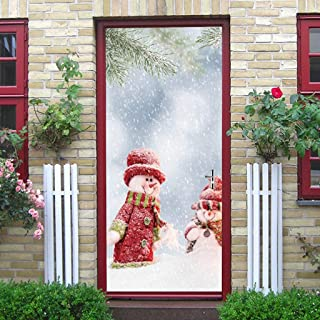 Quaanti Christmas Window Door Cover - Santa with Gifts - The Original Holiday Garage and Front Door Decoration Snowman Mural Decor for Home 78X30Inches (E)