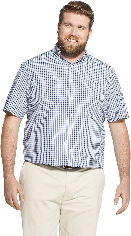 IZOD Men's Big and Tall Breeze Short Sleeve Button Down Gingham Shirt