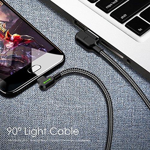 mcdodo LED USB C Ladekabel 90 Grad Winkel Type C abgewinkelt Kabel USB C Winkel auf A Nylon geflochten Schnellladegerät Daten Kabeladapter Kabel kompatibel mit Galaxy S10 S9 S8 Huawei P20 P30 (0,5m)