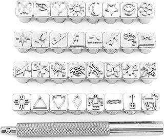 Yuhtech Poinçon Ensemble, 32 Pcs Estampage en Cuir Stamper Outil de Poinçonnage pour Bricolage Cuir Artisanat