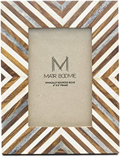 Matr Boomie Handmade Carved Wood and Bone Tabletop/Wall Picture Photo Frame (Wood, White, Grey 4x6)