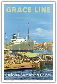 Caribbean - South America Cruises - Willemstad Harbour, Curaçao, West Indies - Grace Line - Vintage Ocean Liner Travel Poster by Carl G Evers c.1957 - Master Art Print - 12in x 18in
