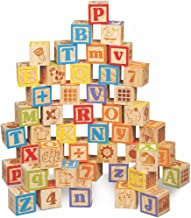 Maxim Deluxe Wooden ABC Blocks. Extra-Large Engraved Baby Alphabet Letters, Counting..