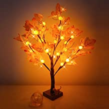 Artificial Fall Lighted Maple Tree 24 LED Pumpkin Lights Halloween Thanksgiving Decorations Table Lights Battery Operated ...