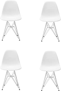 Conjunto de Cuatro sillas de Comedor, Silla de plástico Patas de Metal, Muebles de Oficina Modernos e Informales (Blanco)