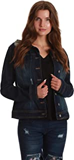 Just Love Denim Jacket for Women Distressed Casual Trucker Jean Jacket