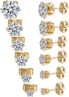 18K Yellow Gold Plated Round Cubic Zirconia Stud Earrings...