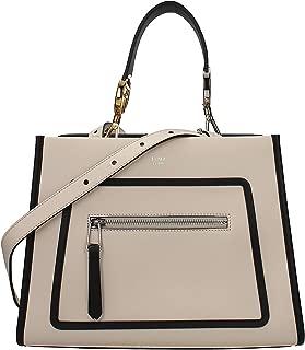Fendi Shopping Bag Runaway Calf Camelia Cream Beige and Black Leather Shopping tote Handbag w Palladium Hardware 8BH344