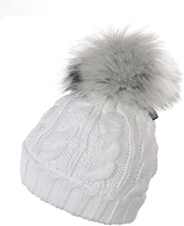 Chenillemütze Blanc Pompon Bonnet Doublure Hiver Casquette Neuf non porté One Size