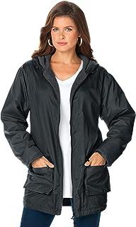Women's Plus Size Hooded Jacket with Fleece Lining Rain...