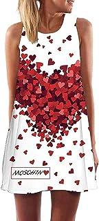Minetom Donna Abito Estivo Vestito della Gilet Senza Maniche Beach Stampato Abito Corto Mini Vintage Boho Fiore Stampato Dress