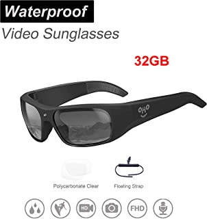 OHO Waterproof Video Audio Sunglasses,Built-in Memory with Ultra 1080P Full HD Video Recording Camera and Polarized UV400 Protection Safety Lenses,Unisex Sport Design